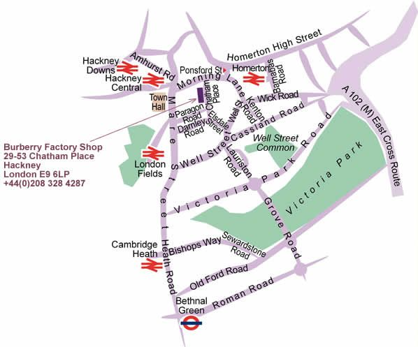 pretty nice 9d3c0 4a19e Location map for Burberry Outlet Store, Hackney, London E9 ...