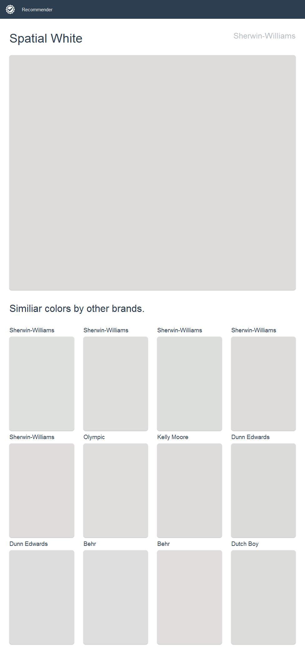 Spatial White, Sherwin-Williams.   2017 - Sherwin-Williams ...