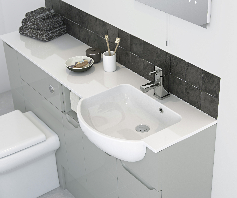 Arco Worktop Mineral Cast Basin With Lh Combined Worktop 320 Deep Elegant Bathroom Fitted Bathroom Furniture Bathroom Furniture