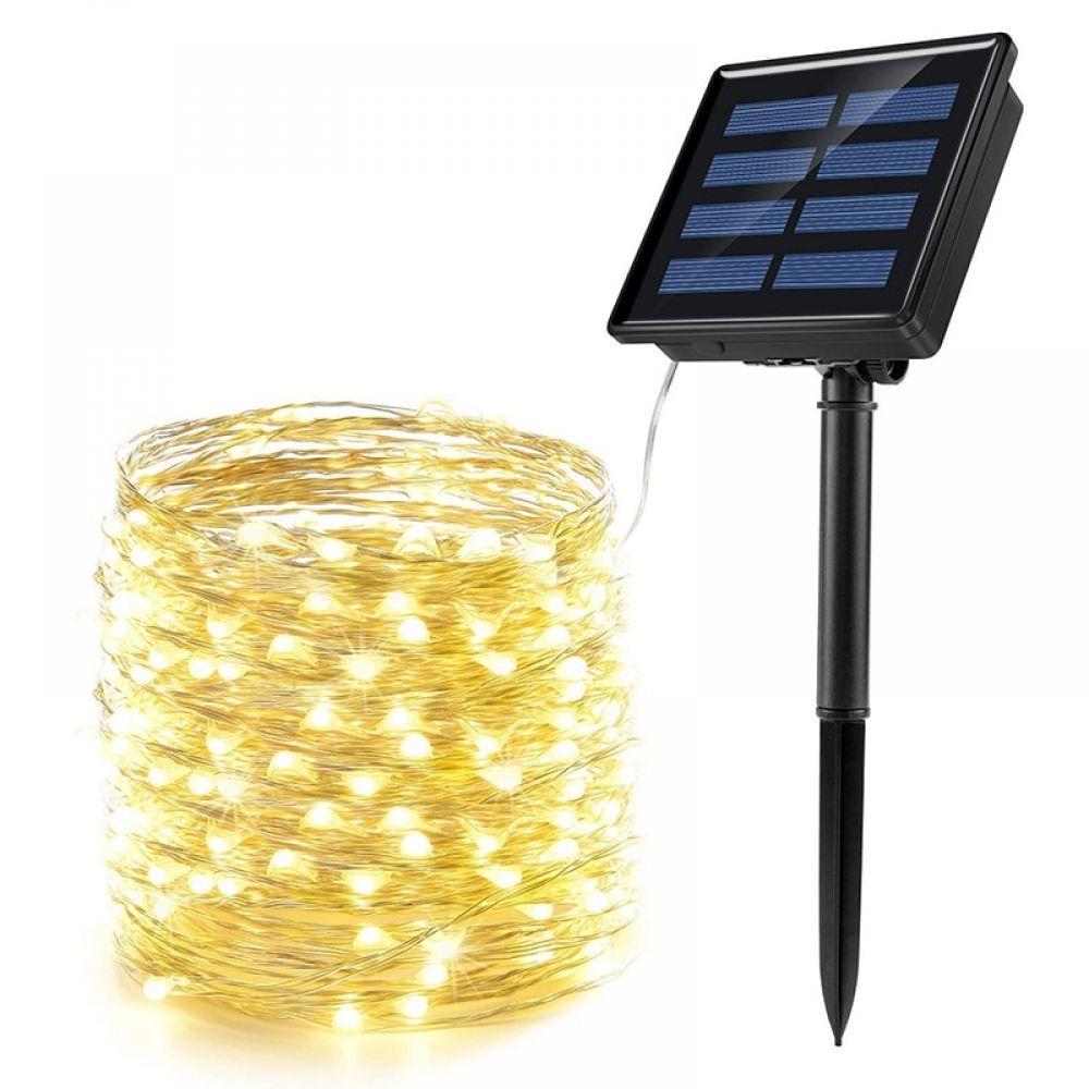 100 Blanc à énergie solaire fée String lumière DEL extérieur jardin éclairage XAMS