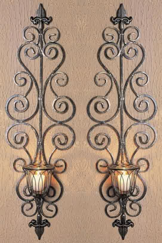Metal Wall Decor Candle Holder : Wrought iron wall candle holders antique metal