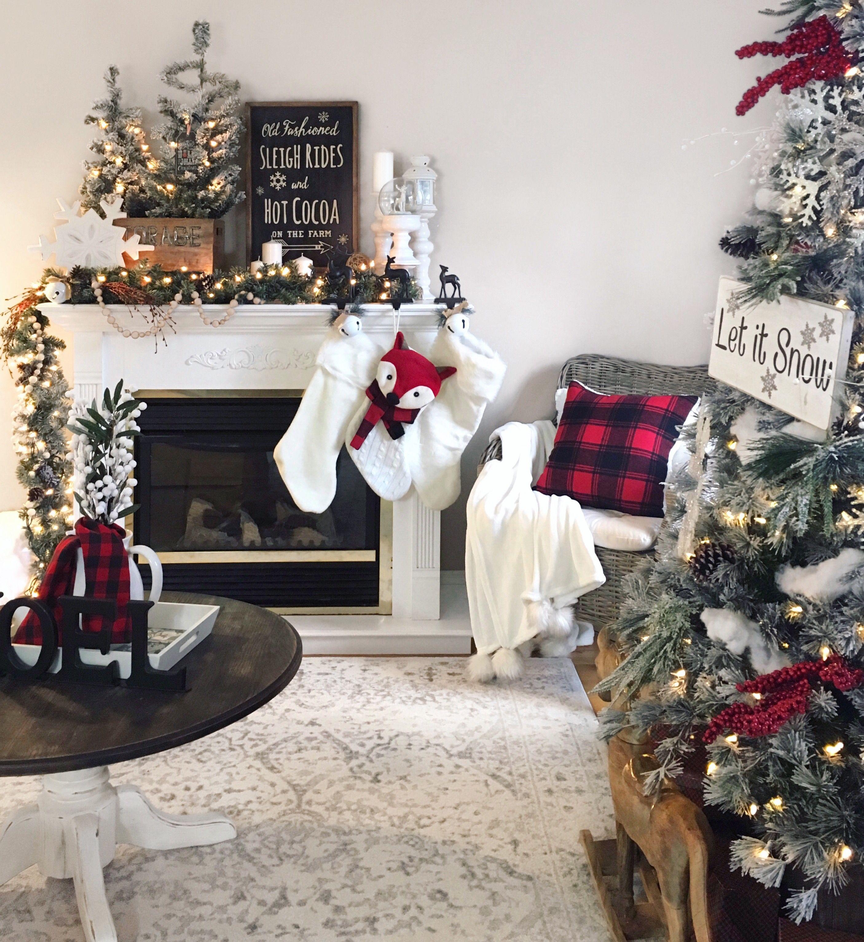 Red White And Black Christmas Buffalo Check Christmas Country Christmas Decorations Black Christmas Trees