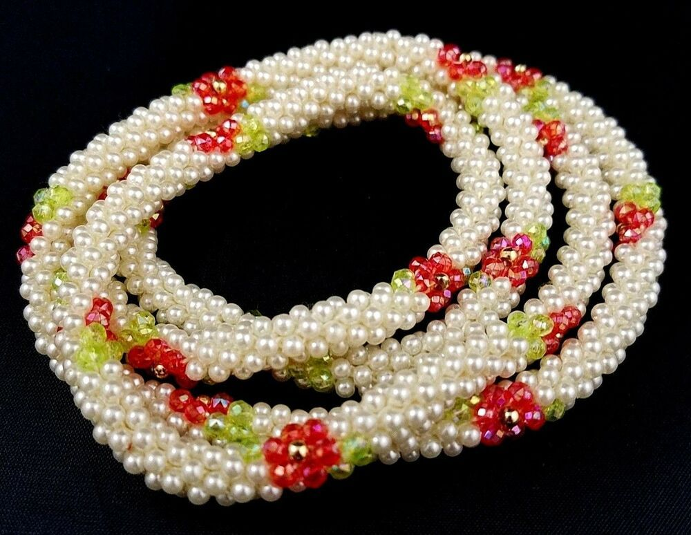 Vintage Red White Blue Green Gold Beaded Rope Necklace