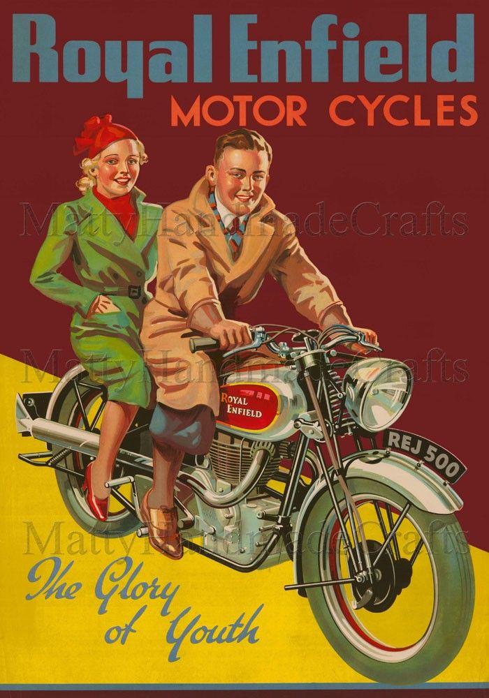 Royal Enfield sports Poster Reproduction. vintage  Advertising Wall art