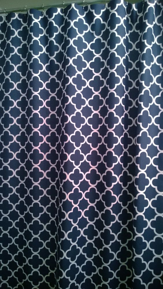 Shower Curtain Lattice Quatrefoil YOU CHOOSE COLORS 70 78 84 Or 90 Inch Extra Long Custom Trellis Shown In Navy White