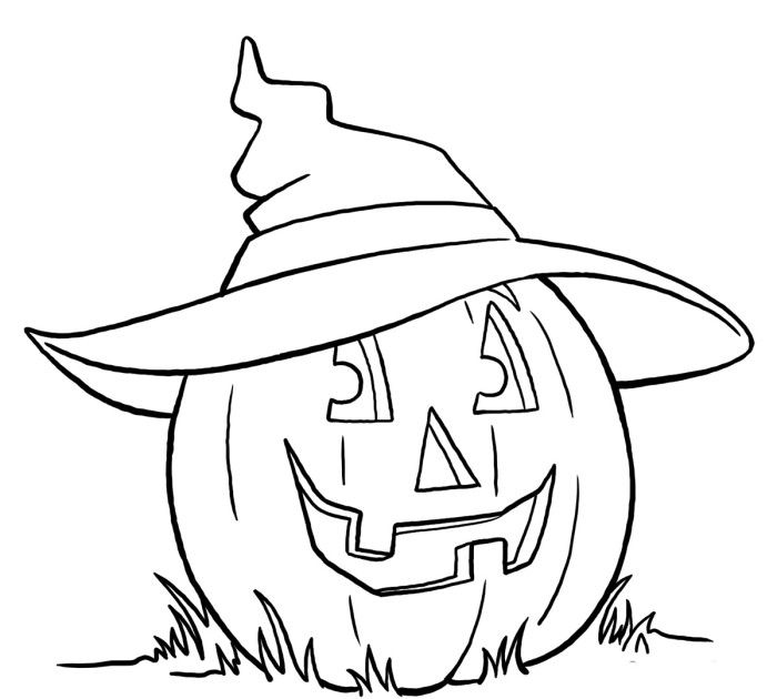 Pumpkin Using Witch Hat Coloring Pages Halloween Coloring Pages