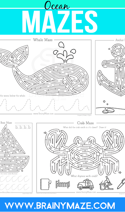 Free Ocean Maze Activity Pages! Fun Whales, Boats, Crabs and more ...