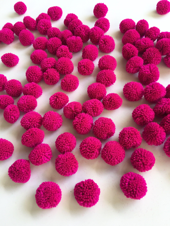 boho decor party decor decorative ball pompon ball jewelry making Pink yarn Pom Poms 1 inch pompom garland nursery decor