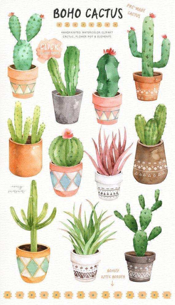 Boho Cactus Watercolor Cliparts, Boho Clipart, Botanical Plant, Tropical Clipart, Cactus Pack, Succulent Wedding Invitation, Cactus Wall Art