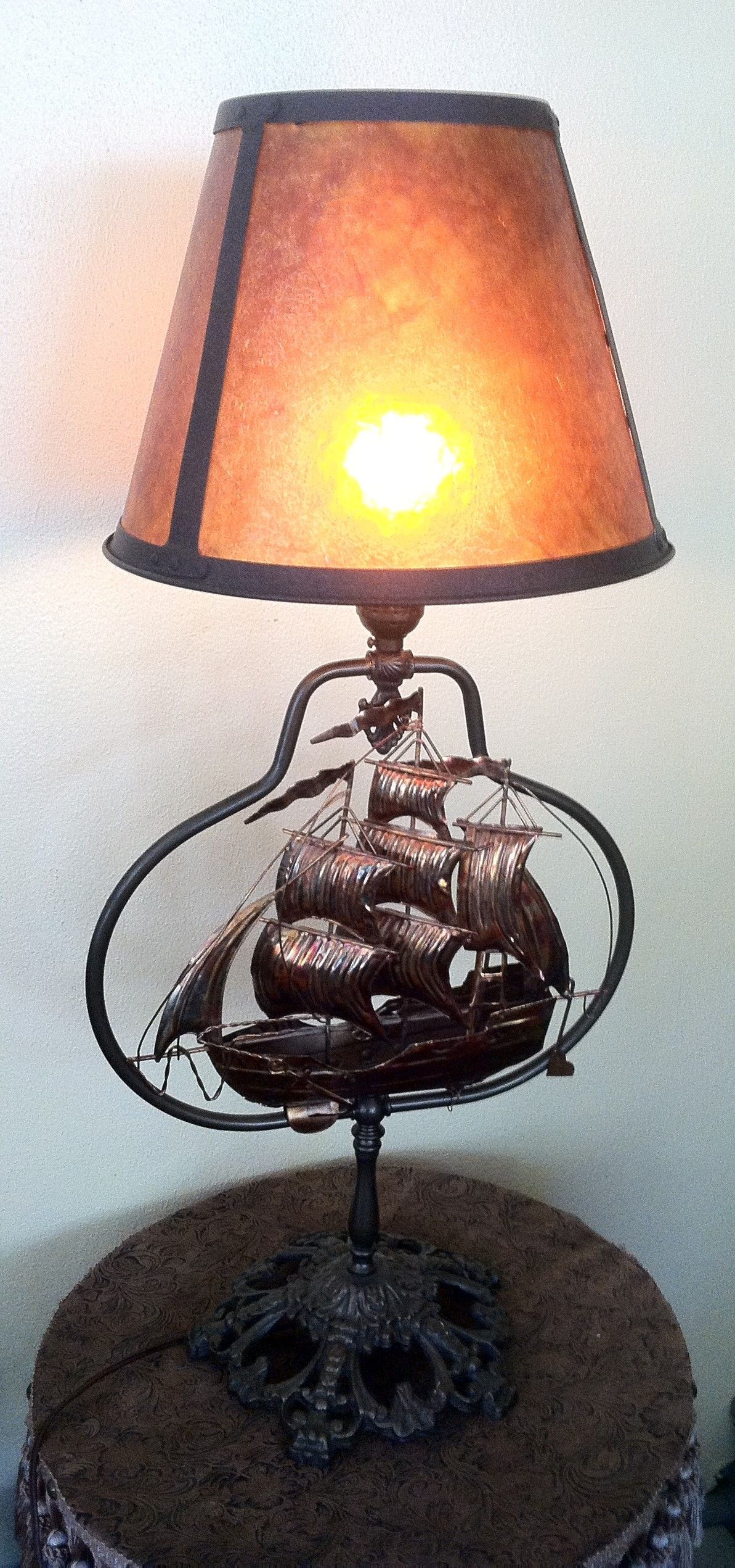 Astounding Handcrafted Sailing Ship Table Lamp This Lamp Features A Interior Design Ideas Clesiryabchikinfo
