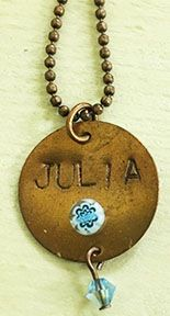"National Craft Month ""make & take"" special at Jubili Beads & Yarns!  Make your own metal stamped name/Swarovski birthstone charm necklace..what fun!"