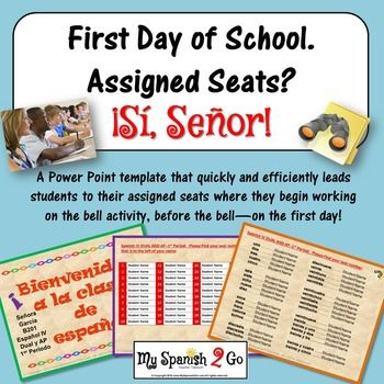 First Day Of School Assigned Seats Powerpoint Template Spanish