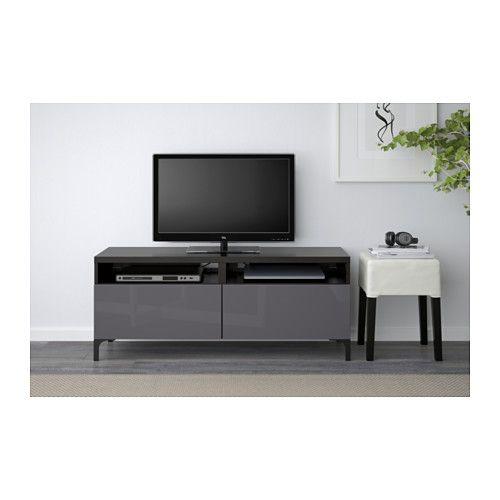 BESTÅ TV unit with drawers - black-brown/Selsviken high-gloss/gray, drawer runner, push-open - IKEA
