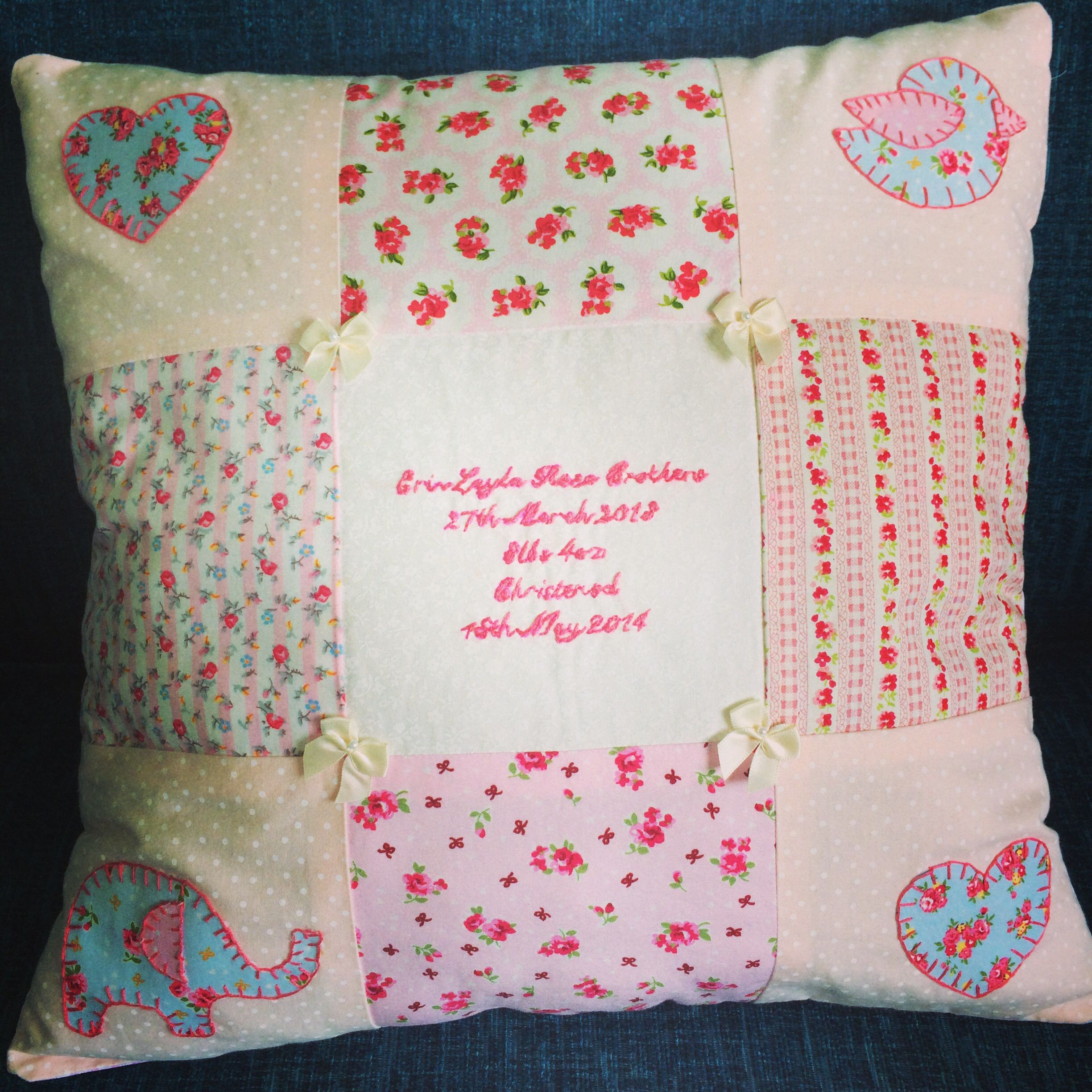 Christeningbirth Cushion Made To Order 3000 Made By Ms Knit