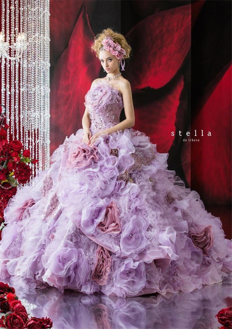 Glamorous Stella De Libero Purple Flowers Backless Ball Gown Wedding ...