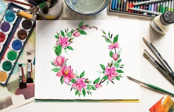 Photo of Magnolia Watercolor Clipart, Magnolia Wreath Watercolor, Spring Flowers Watercolor Clipart, Magnolia wreath png, Watercolor Clipart