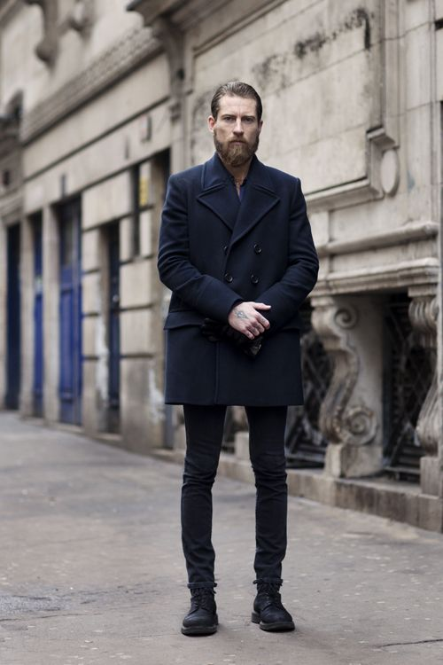 Men's Navy Pea Coat, Black Jeans, Black Leather Boots, Black ...