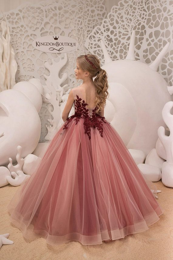2cae9badd11 Blush Pink and Maroon Flower Girl Dress Birthday Wedding Party Holiday  Bridesmaid Flower Girl Blush