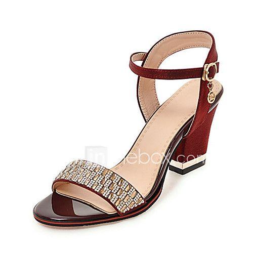 Mujer Zapatos Sintéticos Primavera verano Talón Descubierto Sandalias Tacón Stiletto Punta abierta Pedrería Negro / Fiesta y Noche 0EepX1