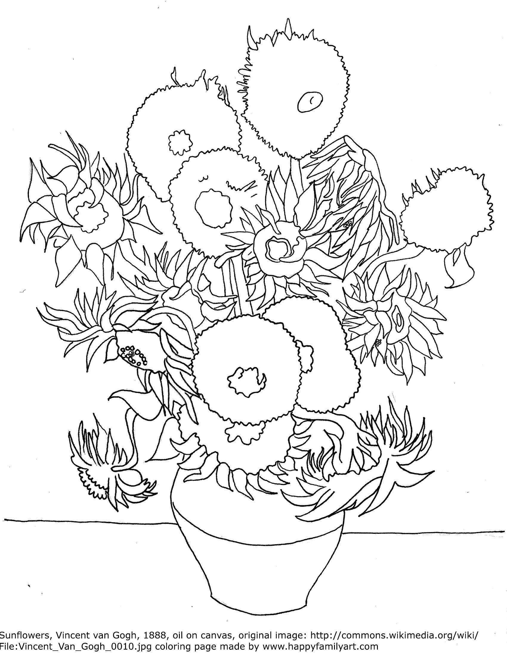 Happy Family Art Original And Fun Coloring Pages Van Gogh Coloring Sunflower Coloring Pages Van Gogh Drawings
