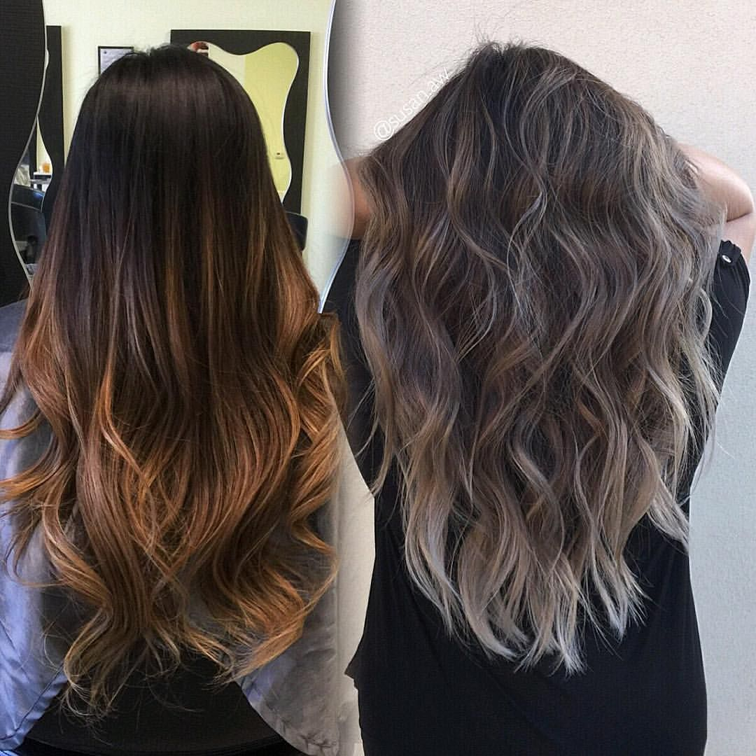 173 Likes 7 Comments Socal La Hairstylist Susan Aw On Instagram Refreshed Her 7months Old Balayage Into A D Hair Styles Balayage Hair Silver Blonde