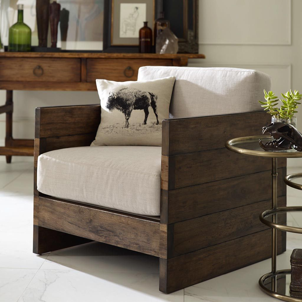 Weathered planked sides and a boxy shape offer statement-making style and casual comfort for your living or family room. The