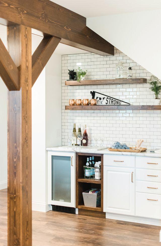 A Fixer Upper Magnolia Inspired Viewing Party Saffron Avenue Graphic Design Brand Styling Wet Bar Basement Basement Decor Wet Bar