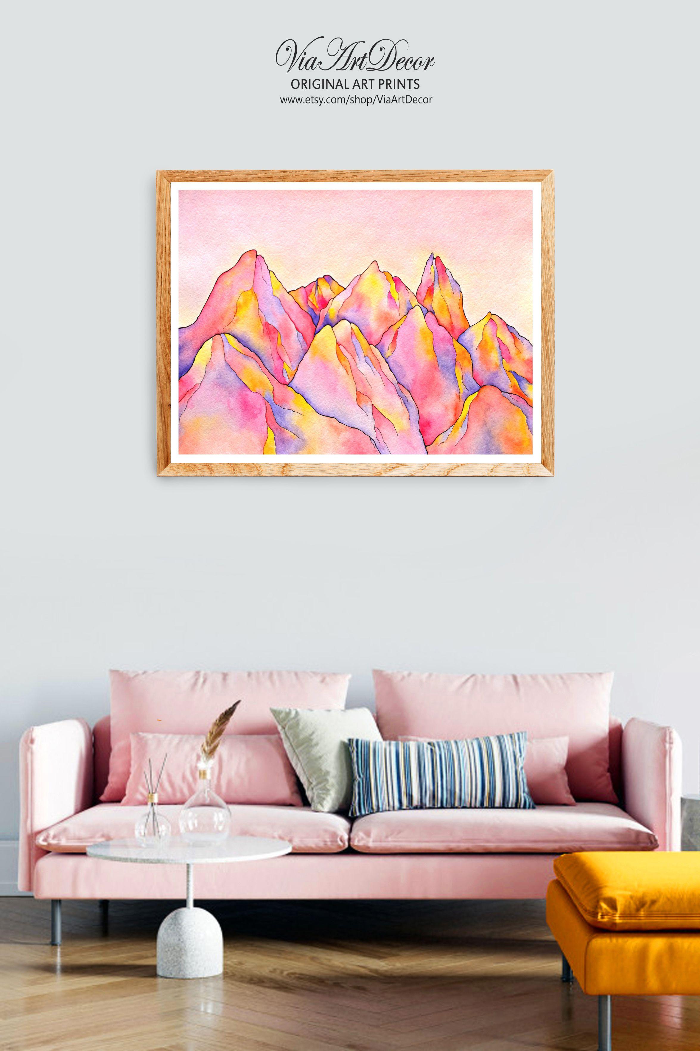 Mountains Wall Art Printable Watercolor Pink Orange Yellow Etsy Pink Wall Art Ideas Pink Wall Decor Pink Abstract Art