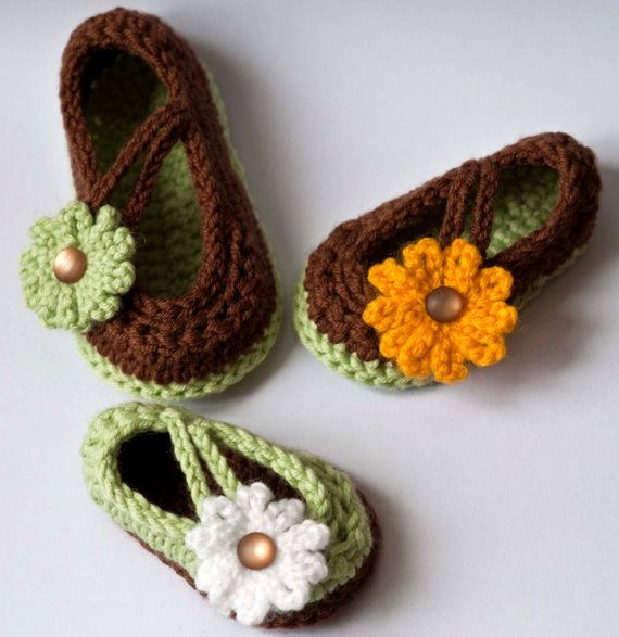 CROCHET PATTERN Baby Booties: Daisy Baby Mary Jane Shoes pdf ...