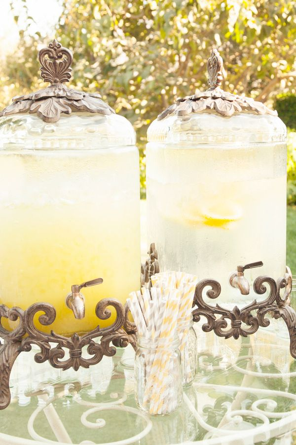 Wedding Photo by Christine Bentley Photography of lemonade pitchers at reception