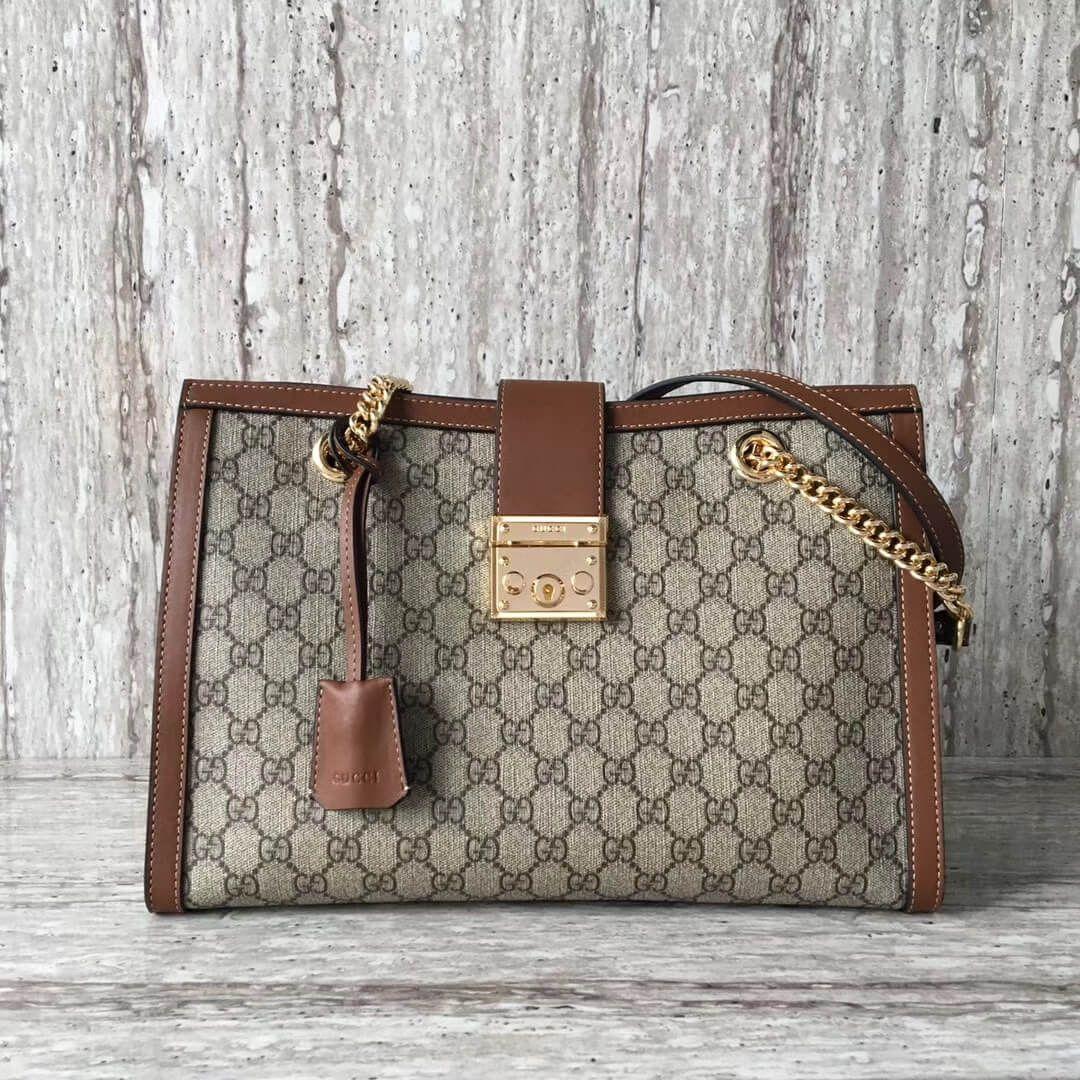 f48631ddf98 Gucci Padlock medium GG shoulder bag 479197 Brown 2017