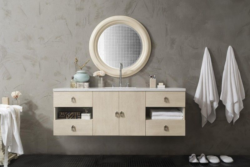 60 Inch Floating Single Sink Bathroom Vanity Vanilla Oak Finish