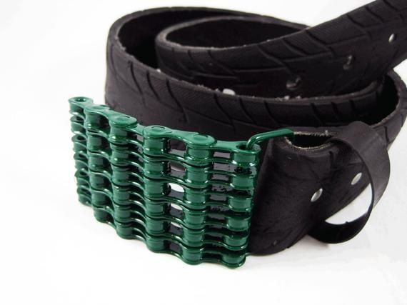 Recycled Bike Chain Belt Buckle Curved Green Finish Bike Chain