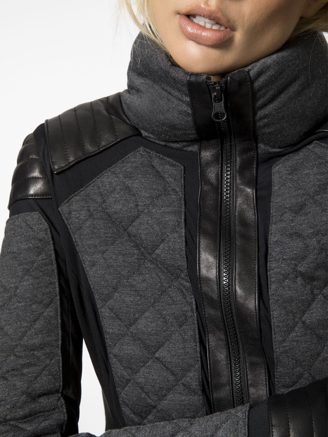 Blanc Noir Mesh Insert Moto Puffer Charcoal Heather Jackets Puffer Winter Jackets Jackets [ 1400 x 1050 Pixel ]