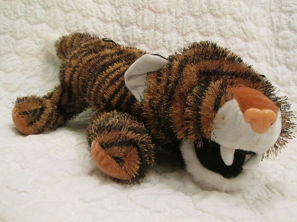 """Toy Factory Large Orange and Black Plush Stuffed Animal 24"""" Tiger Spiky Hair #ToyFactory"""
