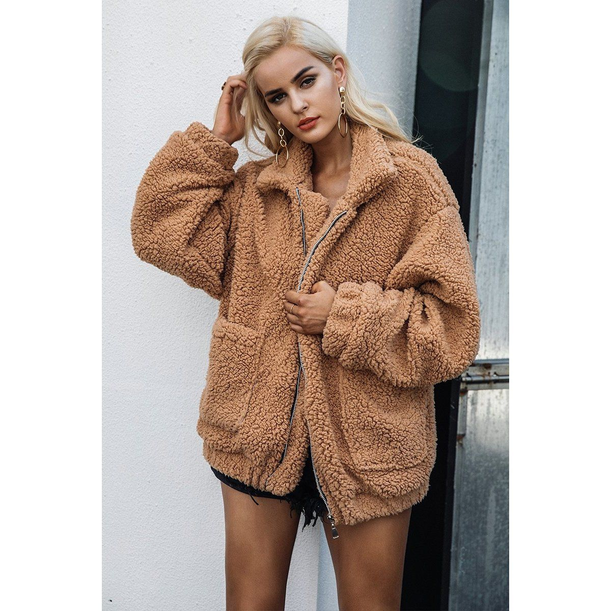 b7e59519315 Faux Sherpa | Bomber Jacket | gifts | Teddy coat, Oversized coat ...