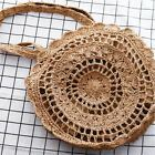 Photo of Women Summer Straw Rattan Beach Shoulder Bag Round Woven Holiday Tote