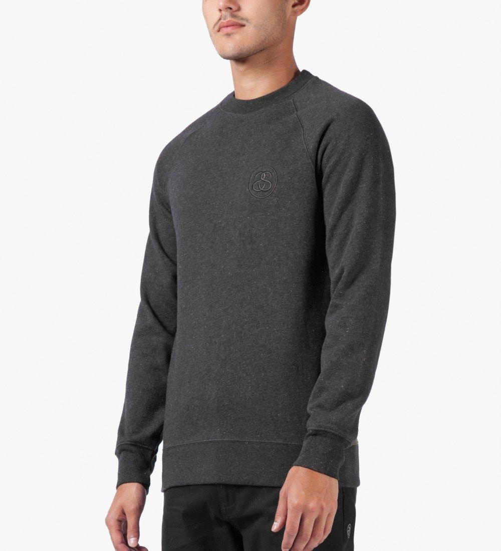 Stussy Heather Black Lux Fleece Crew Sweater