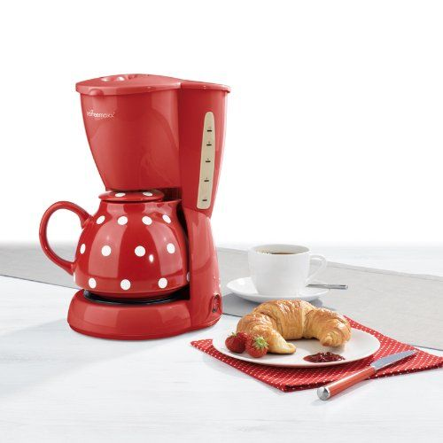 tv das original 01336 coffeemaxx kaffeemaschine keramik plus p nktchendekor rot wei amazon. Black Bedroom Furniture Sets. Home Design Ideas