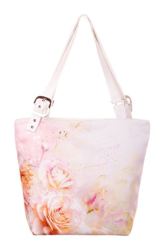 Light pink roses print bag Roses fabric handbag Roses summer bag Floral  tote bag Flower print tote L