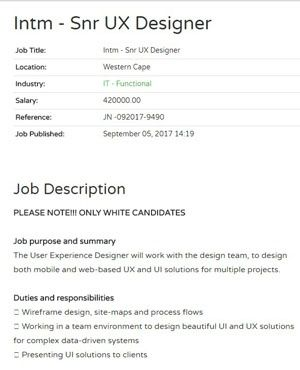 White Candidates Only Job Offer Removed From Cape Town Recruitment Site Job Ads Job Offer Candidate