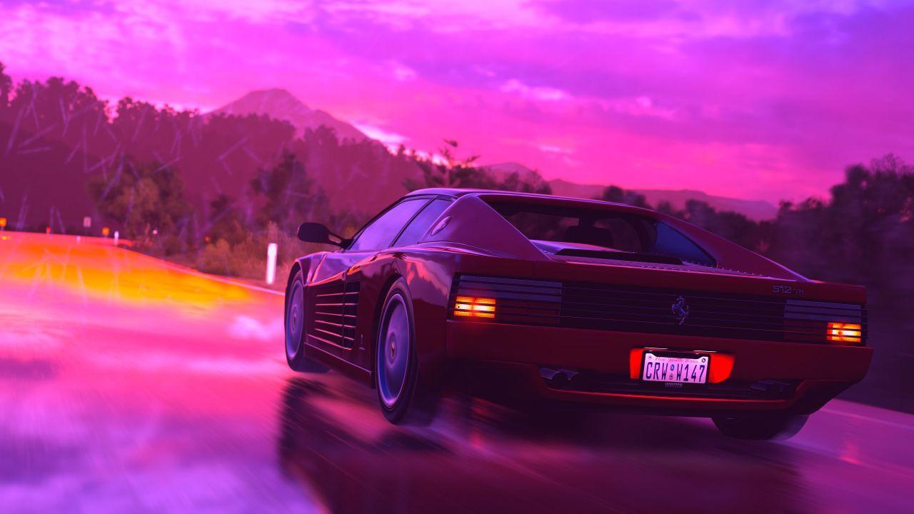 Ferrari, Sports Car, RetroWave Art, Neon, 4K In 2019