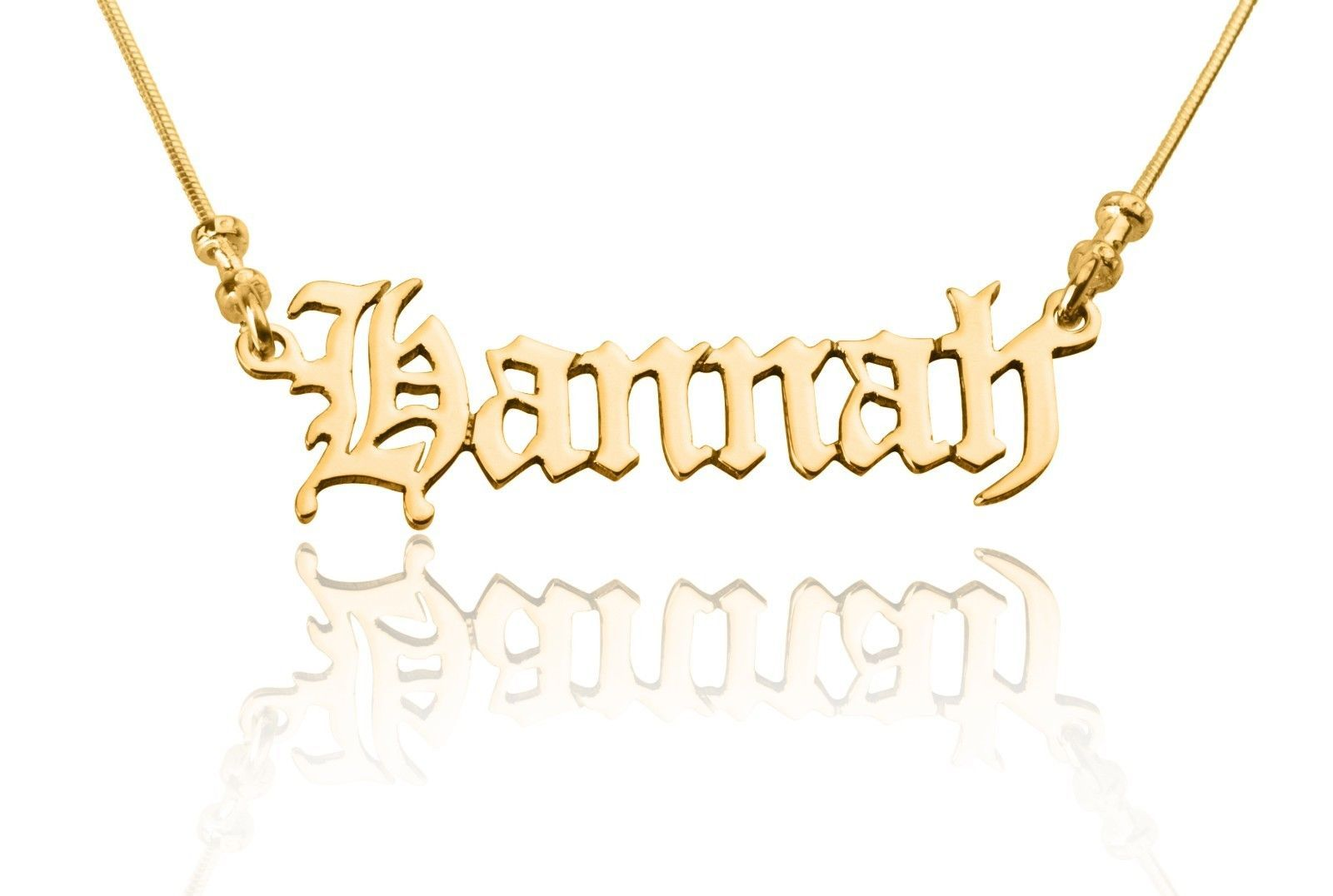 Old English Font Or Your Choice Personalized Name Necklace 24k Gold Plated
