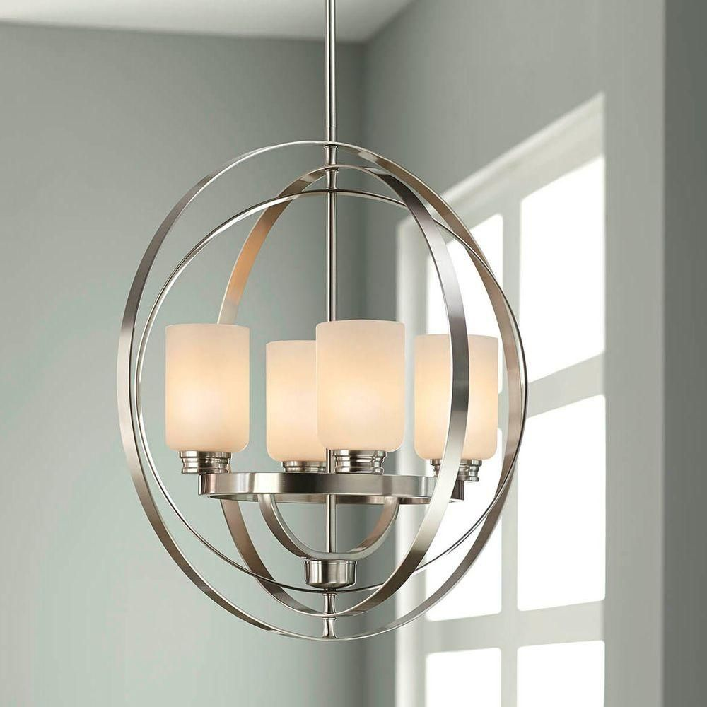 Home Decorators Collection 4 Light Brushed Nickel Chandelier 7900hdc The Home Dep Brushed Nickel Chandelier Foyer Lighting Fixtures Kitchen Lighting Fixtures