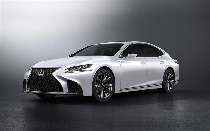 Download wallpapers Lexus LS 500 F Sport, 2018, Tuning LS 500, white ...