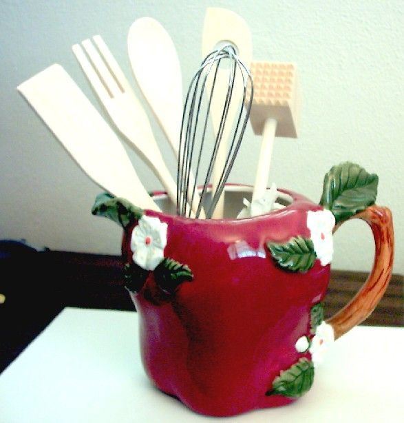 Big red apple pitcher utensil holder utensil holders for Apple kitchen decoration