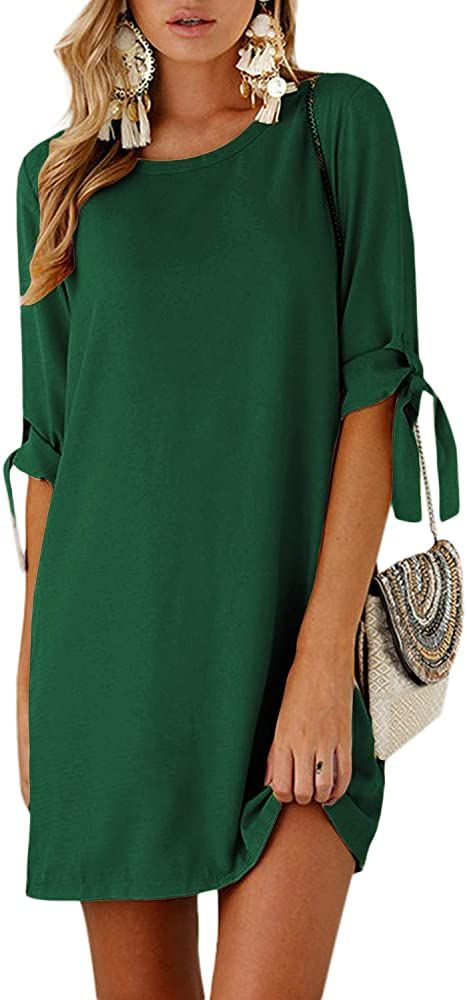 YOINS, vestidos de verano para mujer, camisetas de media manga con estampado floral, túnicas sólidas con cuello redondo, blusas con lazo, minivestidos  – Moda