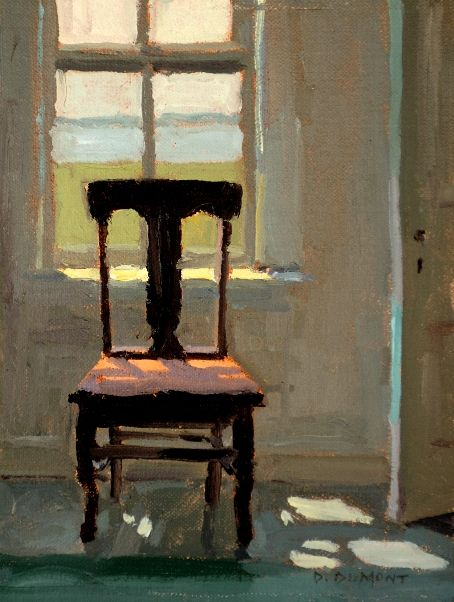 "Russell's Chair - oil, 8"" x 6"" - Denise Dumont"