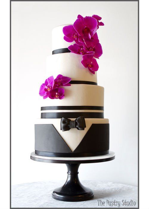 Chic Tuxedo Cake on a 14 inch Black Cake Stand