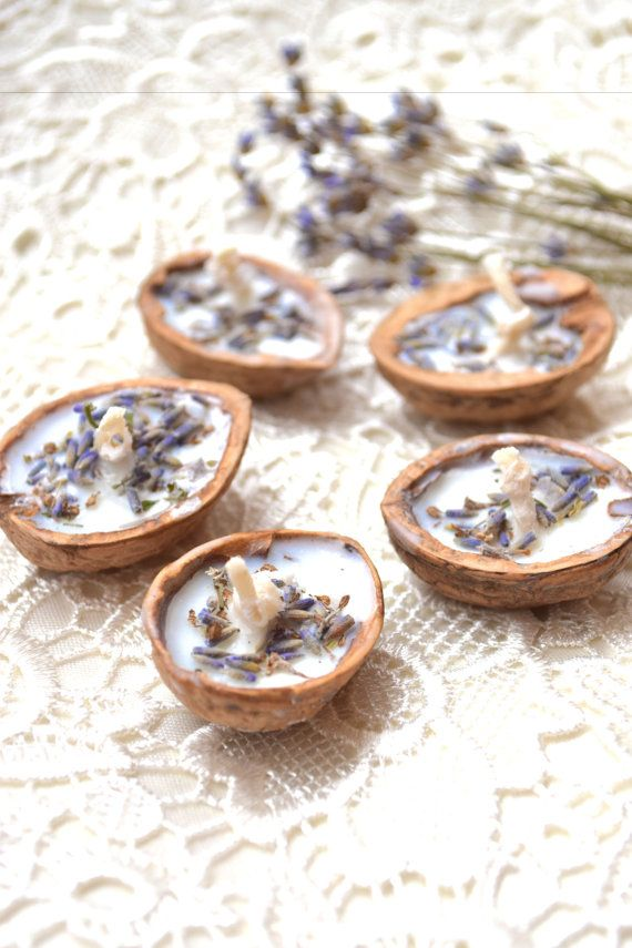 Lavender candles Floating candle Wedding favors Floral wedding Tea light Bulk water Walnut shell candle Soy wax Wedding party favors 5 pcs is part of Floating candles wedding - dye additive   You can put the candle in your room or bathroom, and it will be nice to smell, filling your home a